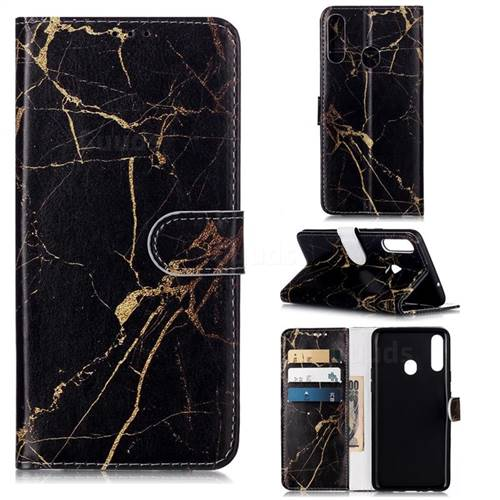 Black Gold Marble PU Leather Wallet Case for Samsung Galaxy A20s