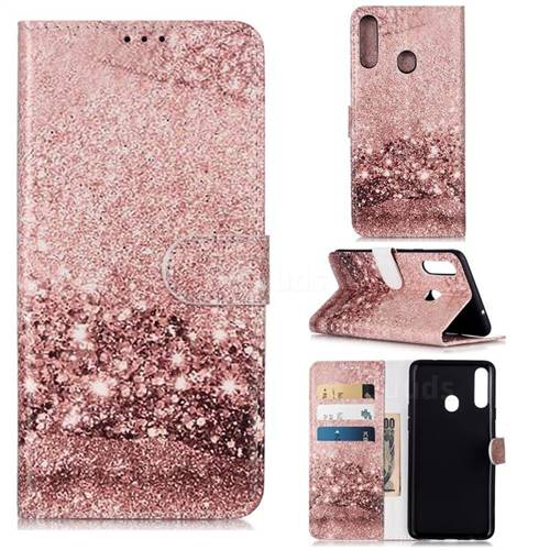 Glittering Rose Gold PU Leather Wallet Case for Samsung Galaxy A20s