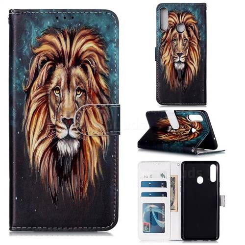 Ice Lion 3D Relief Oil PU Leather Wallet Case for Samsung Galaxy A20s