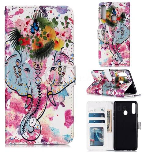 Flower Elephant 3D Relief Oil PU Leather Wallet Case for Samsung Galaxy A20s
