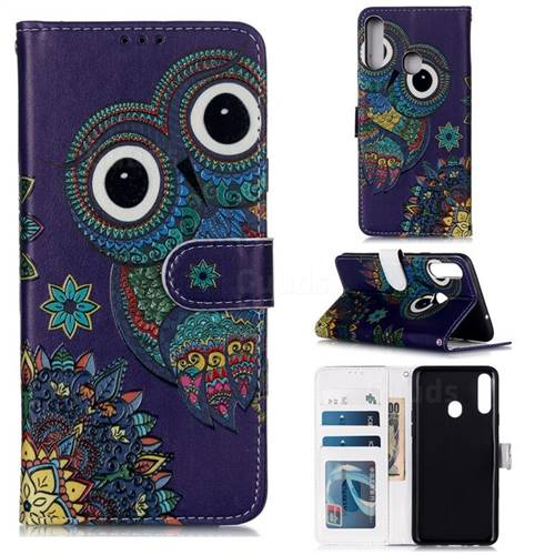 Folk Owl 3D Relief Oil PU Leather Wallet Case for Samsung Galaxy A20s