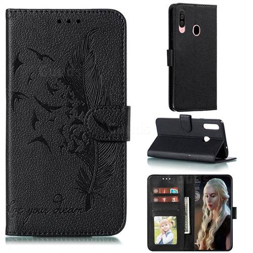 Intricate Embossing Lychee Feather Bird Leather Wallet Case for Samsung Galaxy A20s - Black
