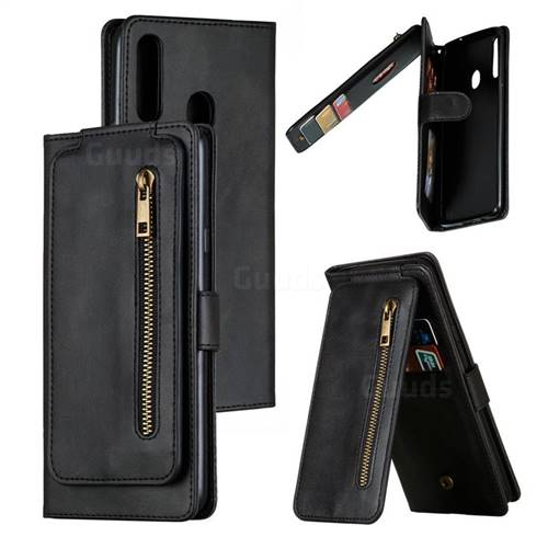 Multifunction 9 Cards Leather Zipper Wallet Phone Case for Samsung Galaxy A20s - Black
