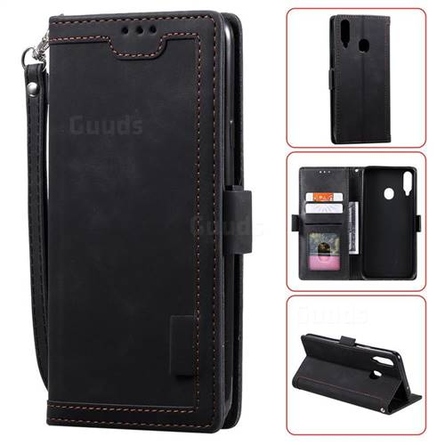 Luxury Retro Stitching Leather Wallet Phone Case for Samsung Galaxy A20s - Black