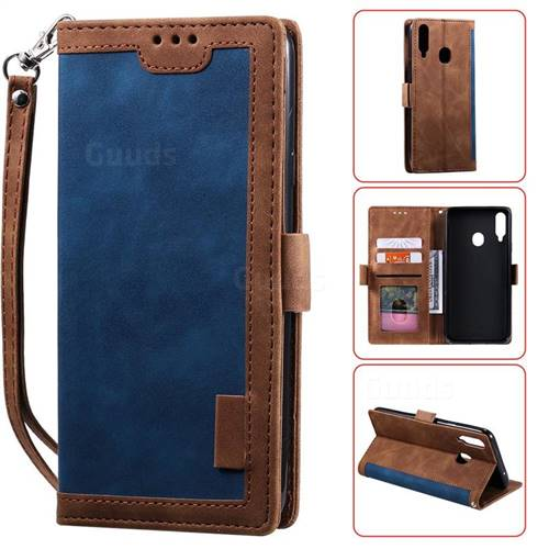 Luxury Retro Stitching Leather Wallet Phone Case for Samsung Galaxy A20s - Dark Blue