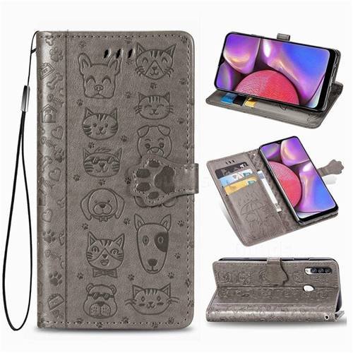 Embossing Dog Paw Kitten and Puppy Leather Wallet Case for Samsung Galaxy A20s - Gray
