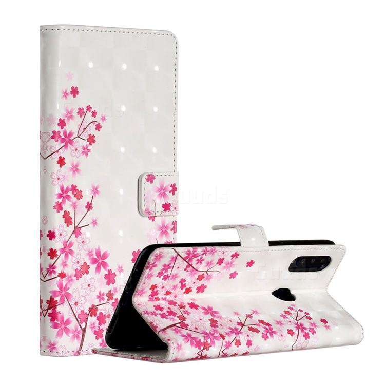 Cherry Blossom 3D Painted Leather Phone Wallet Case for Samsung Galaxy A20s