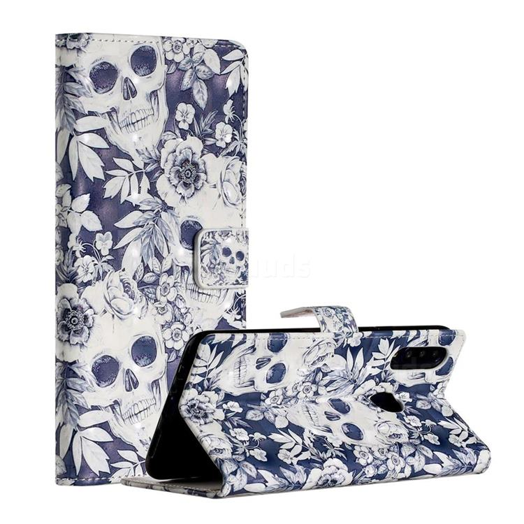 Skull Flower 3D Painted Leather Phone Wallet Case for Samsung Galaxy A20s