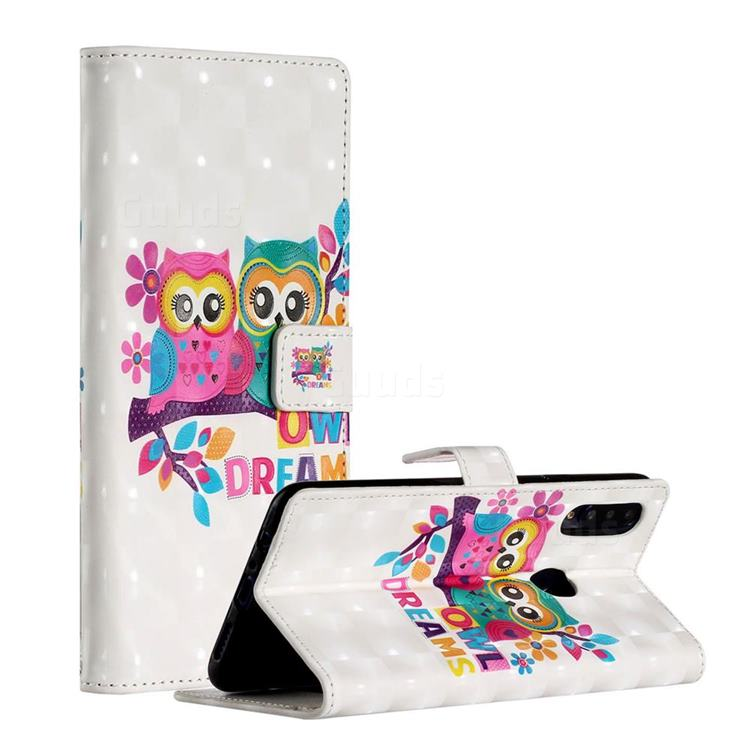 Couple Owl 3D Painted Leather Phone Wallet Case for Samsung Galaxy A20s