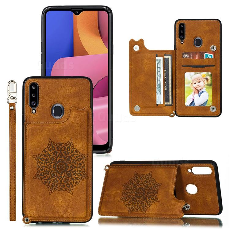 Luxury Mandala Multi-function Magnetic Card Slots Stand Leather Back Cover for Samsung Galaxy A20s - Brown
