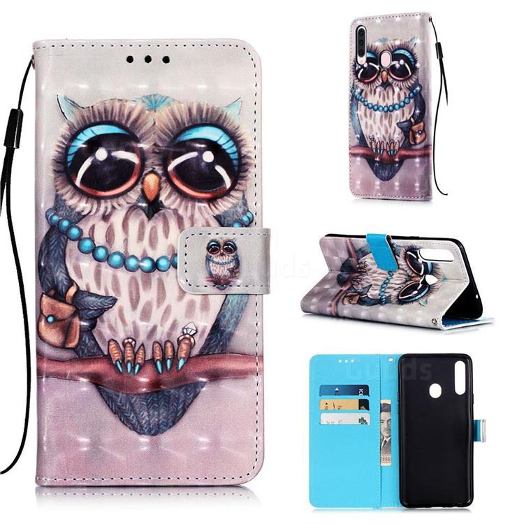 Sweet Gray Owl 3D Painted Leather Wallet Case for Samsung Galaxy A20s