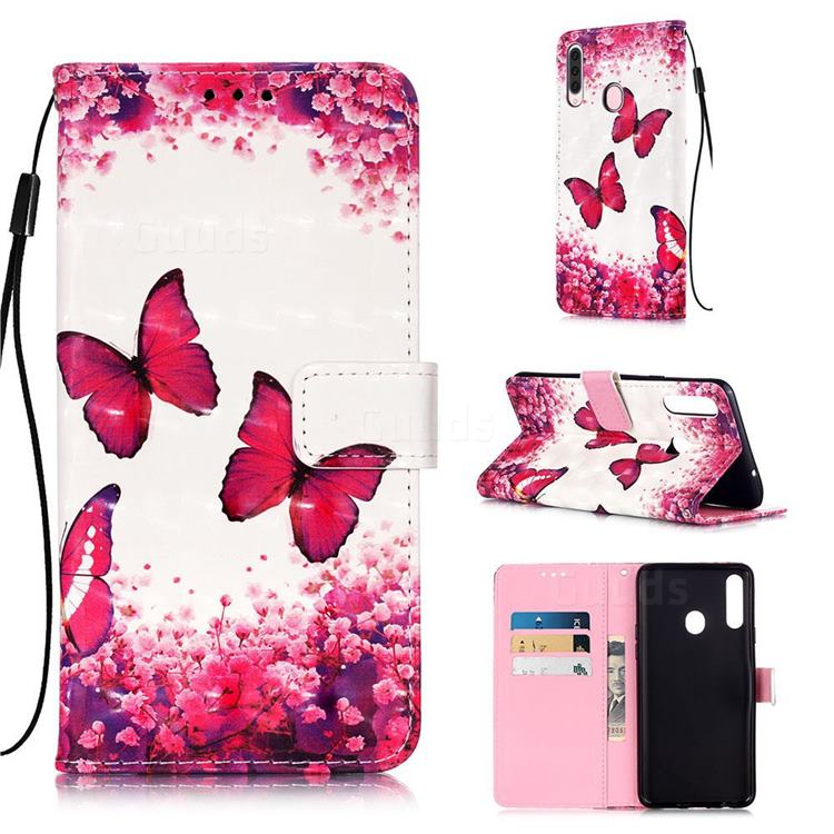 Rose Butterfly 3D Painted Leather Wallet Case for Samsung Galaxy A20s