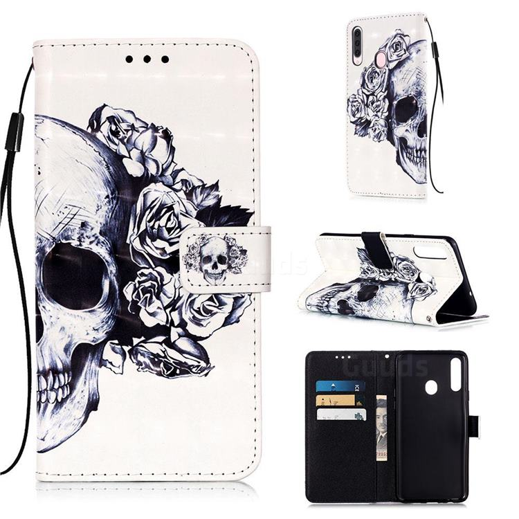 Skull Flower 3D Painted Leather Wallet Case for Samsung Galaxy A20s