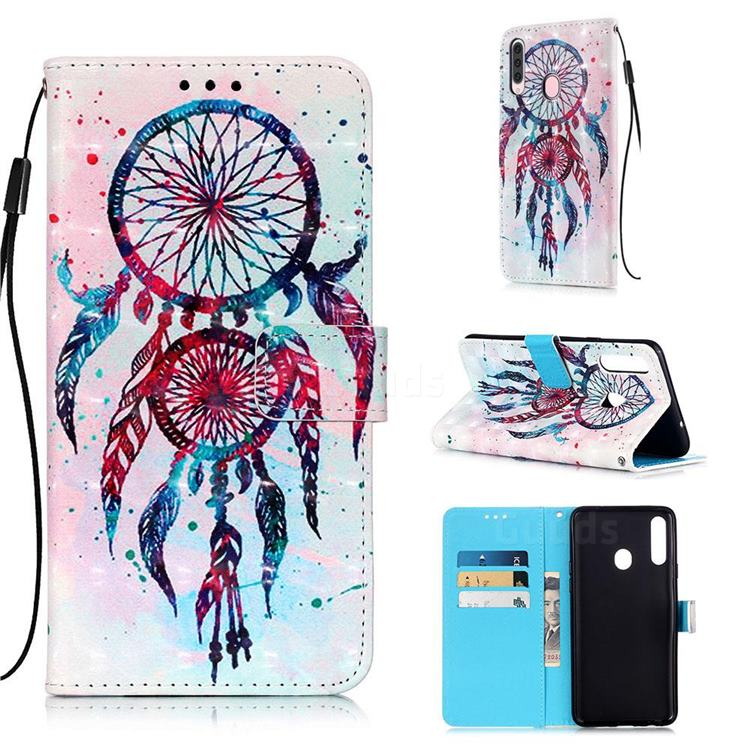 ColorDrops Wind Chimes 3D Painted Leather Wallet Case for Samsung Galaxy A20s