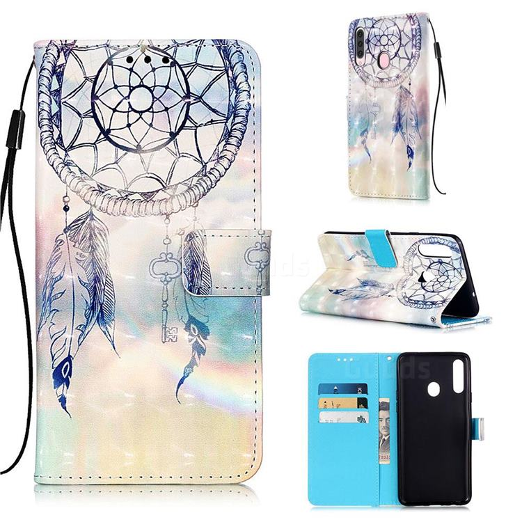 Fantasy Campanula 3D Painted Leather Wallet Case for Samsung Galaxy A20s
