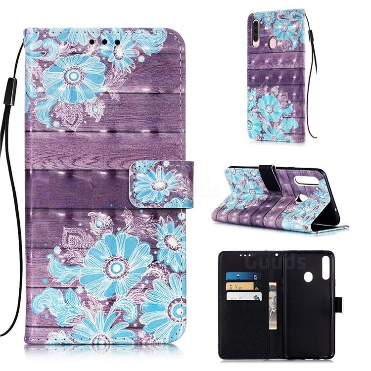 Blue Flower 3D Painted Leather Wallet Case for Samsung Galaxy A20s