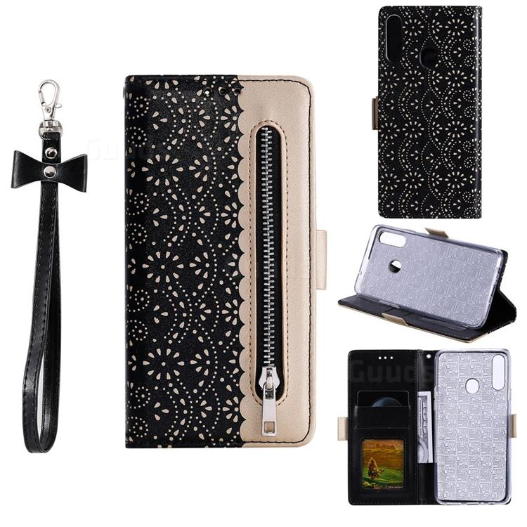 Luxury Lace Zipper Stitching Leather Phone Wallet Case for Samsung Galaxy A20s - Black