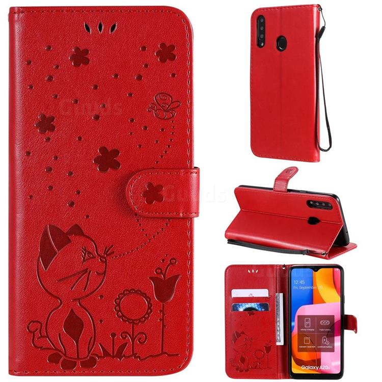 Embossing Bee and Cat Leather Wallet Case for Samsung Galaxy A20s - Red