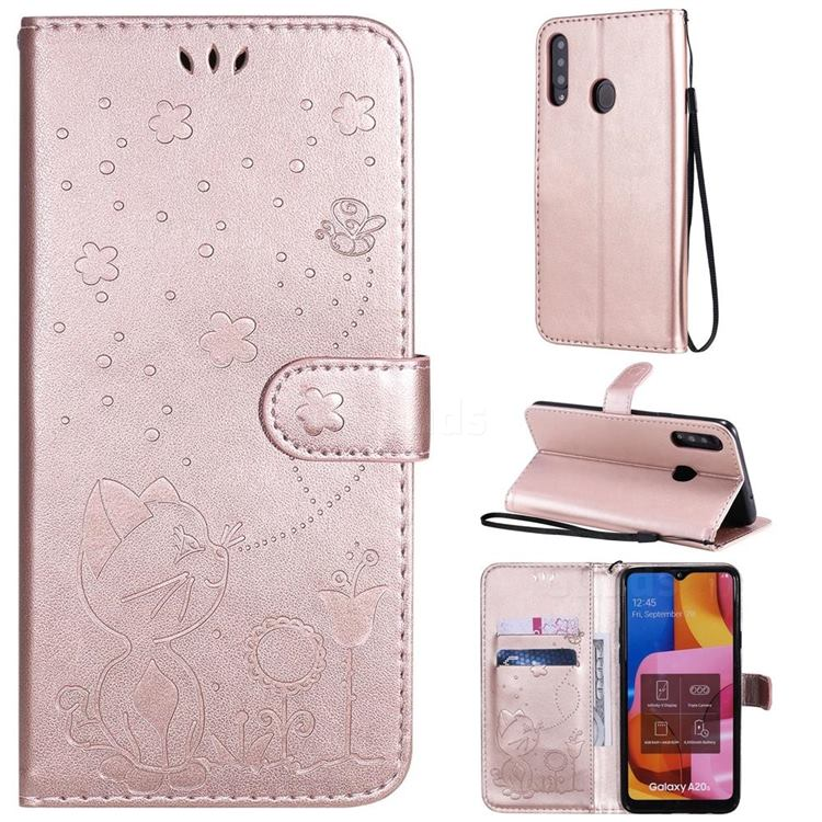 Embossing Bee and Cat Leather Wallet Case for Samsung Galaxy A20s - Rose Gold