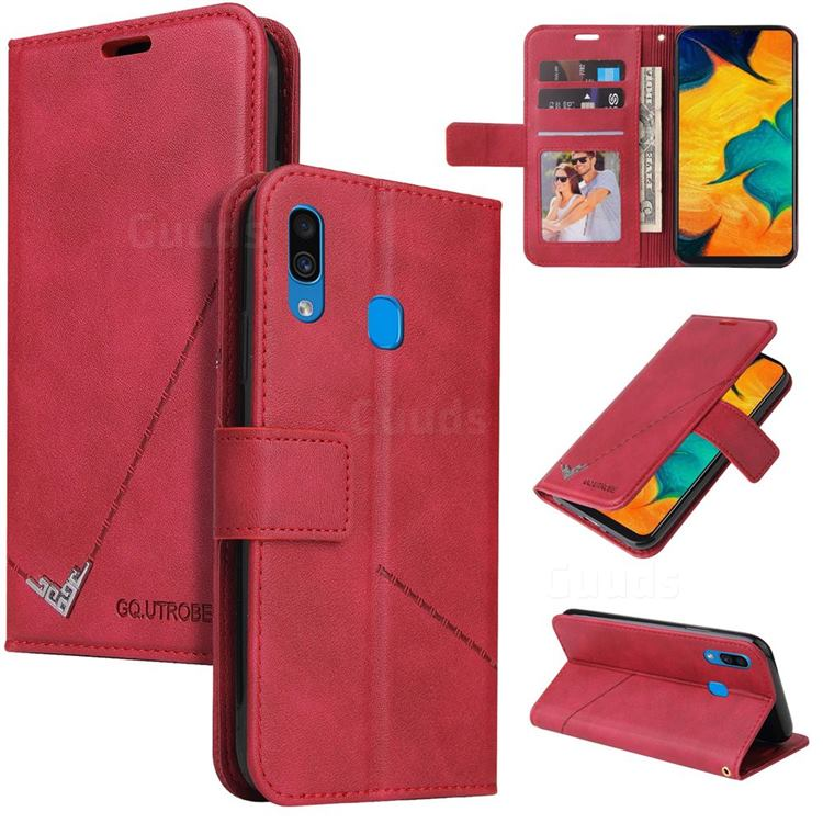 GQ.UTROBE Right Angle Silver Pendant Leather Wallet Phone Case for Samsung Galaxy A20s - Red