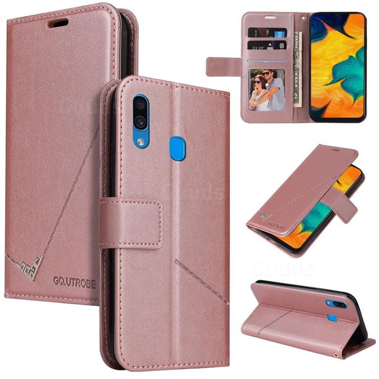 GQ.UTROBE Right Angle Silver Pendant Leather Wallet Phone Case for Samsung Galaxy A20s - Rose Gold