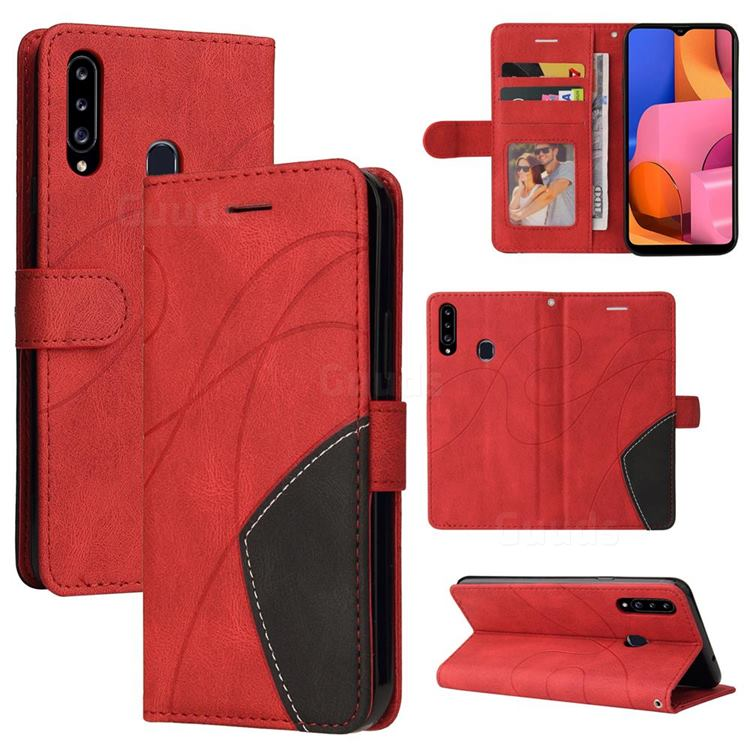 Luxury Two-color Stitching Leather Wallet Case Cover for Samsung Galaxy A20s - Red