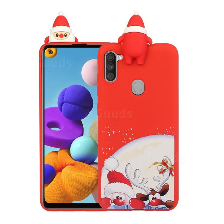 Santa Claus Elk Christmas Xmax Soft 3D Doll Silicone Case for Samsung Galaxy A21