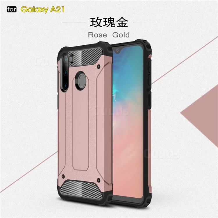 King Kong Armor Premium Shockproof Dual Layer Rugged Hard Cover for Samsung Galaxy A21 - Rose Gold