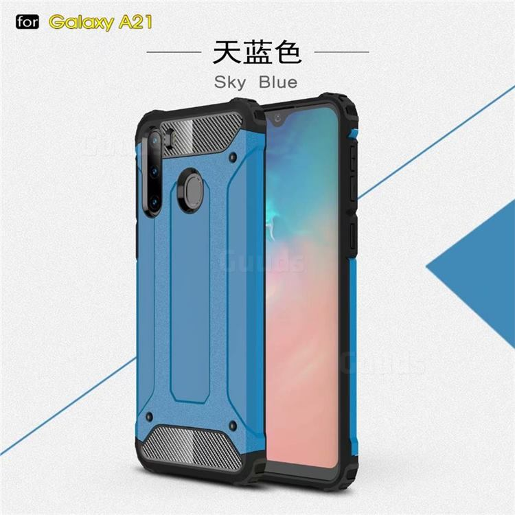 King Kong Armor Premium Shockproof Dual Layer Rugged Hard Cover for Samsung Galaxy A21 - Sky Blue