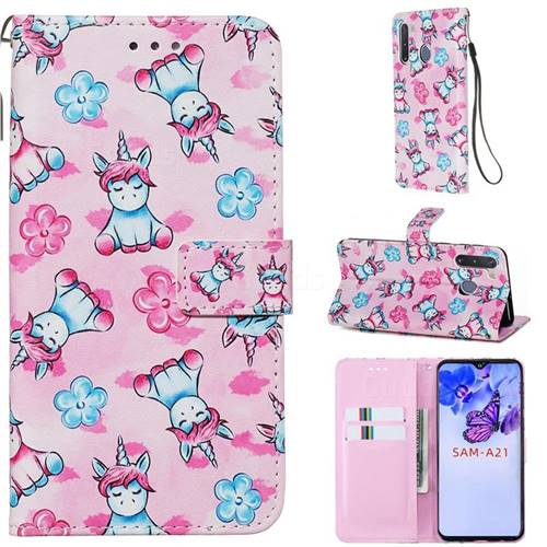 Unicorn and Flowers Matte Leather Wallet Phone Case for Samsung Galaxy A21
