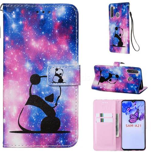 Panda Baby Matte Leather Wallet Phone Case for Samsung Galaxy A21