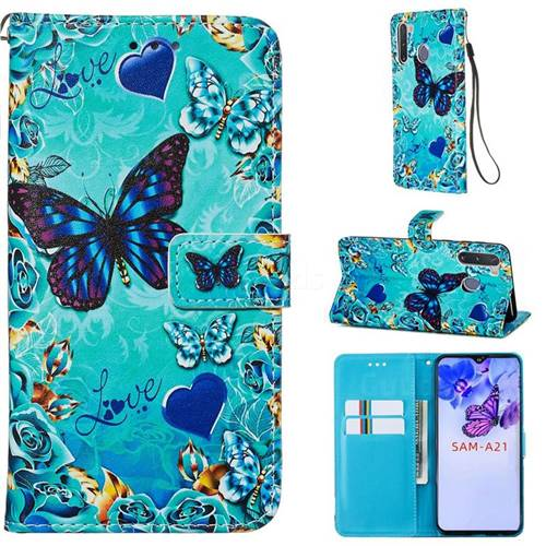 Love Butterfly Matte Leather Wallet Phone Case for Samsung Galaxy A21