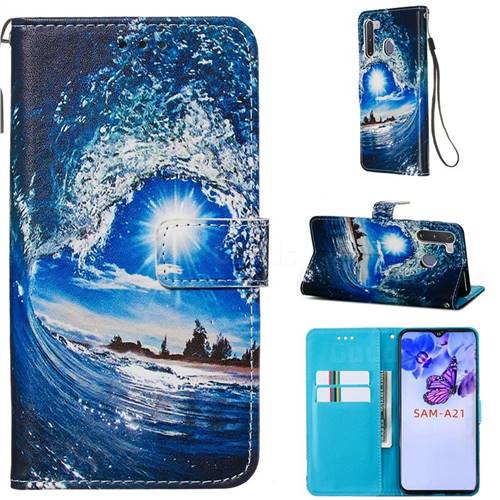 Waves and Sun Matte Leather Wallet Phone Case for Samsung Galaxy A21