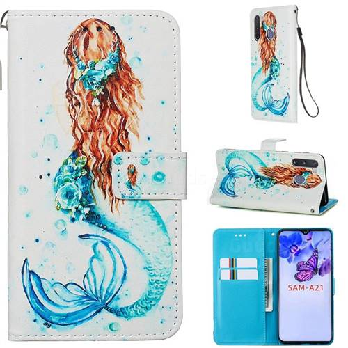 Mermaid Matte Leather Wallet Phone Case for Samsung Galaxy A21