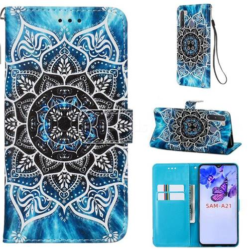 Underwater Mandala Matte Leather Wallet Phone Case for Samsung Galaxy A21