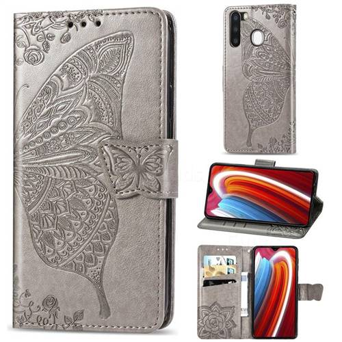 Embossing Mandala Flower Butterfly Leather Wallet Case for Samsung Galaxy A21 - Gray