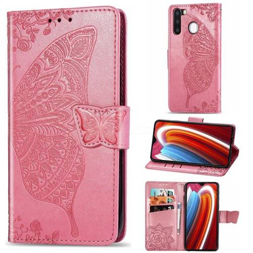 Embossing Mandala Flower Butterfly Leather Wallet Case for Samsung Galaxy A21 - Pink