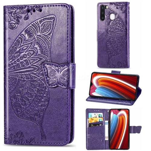 Embossing Mandala Flower Butterfly Leather Wallet Case for Samsung Galaxy A21 - Dark Purple