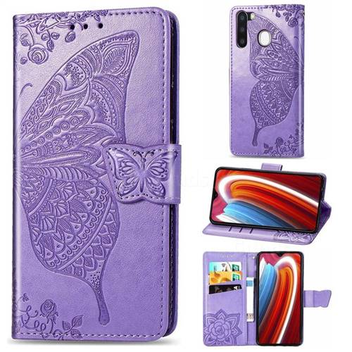 Embossing Mandala Flower Butterfly Leather Wallet Case for Samsung Galaxy A21 - Light Purple
