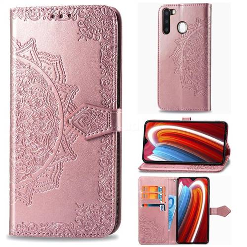 Embossing Imprint Mandala Flower Leather Wallet Case for Samsung Galaxy A21 - Rose Gold