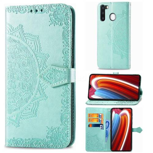 Embossing Imprint Mandala Flower Leather Wallet Case for Samsung Galaxy A21 - Green