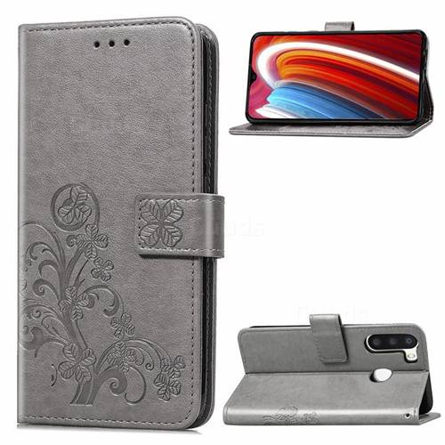 Embossing Imprint Four-Leaf Clover Leather Wallet Case for Samsung Galaxy A21 - Grey