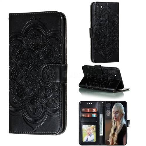Intricate Embossing Datura Solar Leather Wallet Case for Samsung Galaxy A21 - Black
