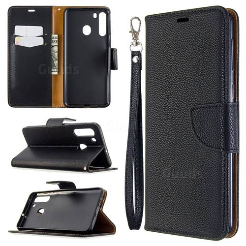 Classic Luxury Litchi Leather Phone Wallet Case for Samsung Galaxy A21 - Black