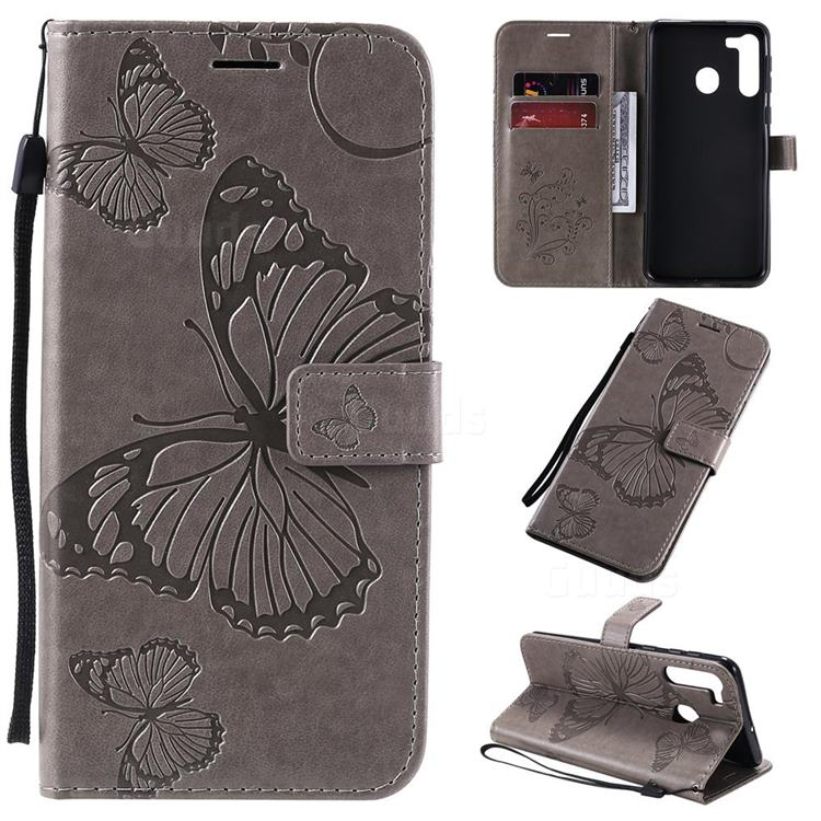 Embossing 3D Butterfly Leather Wallet Case for Samsung Galaxy A21 - Gray
