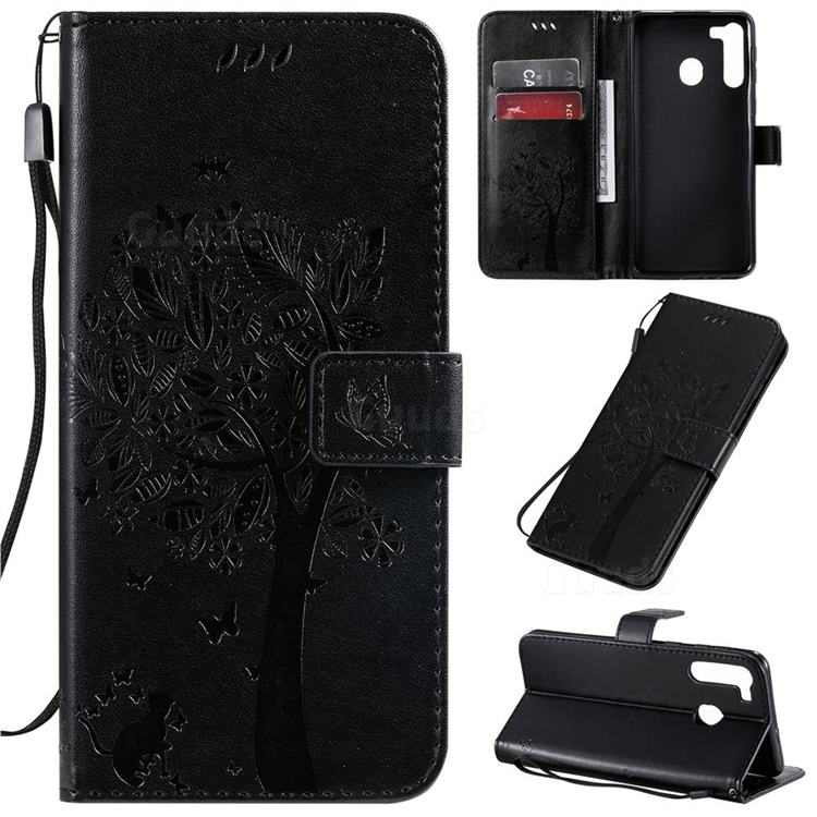 Embossing Butterfly Tree Leather Wallet Case for Samsung Galaxy A21 - Black
