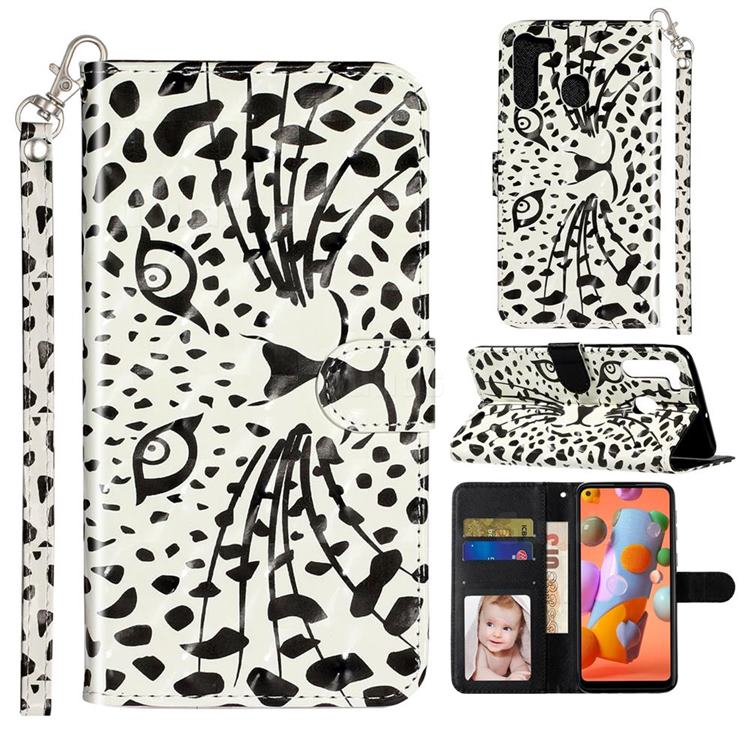 Leopard Panther 3D Leather Phone Holster Wallet Case for Samsung Galaxy A21