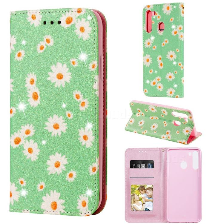 Ultra Slim Daisy Sparkle Glitter Powder Magnetic Leather Wallet Case for Samsung Galaxy A21 - Green