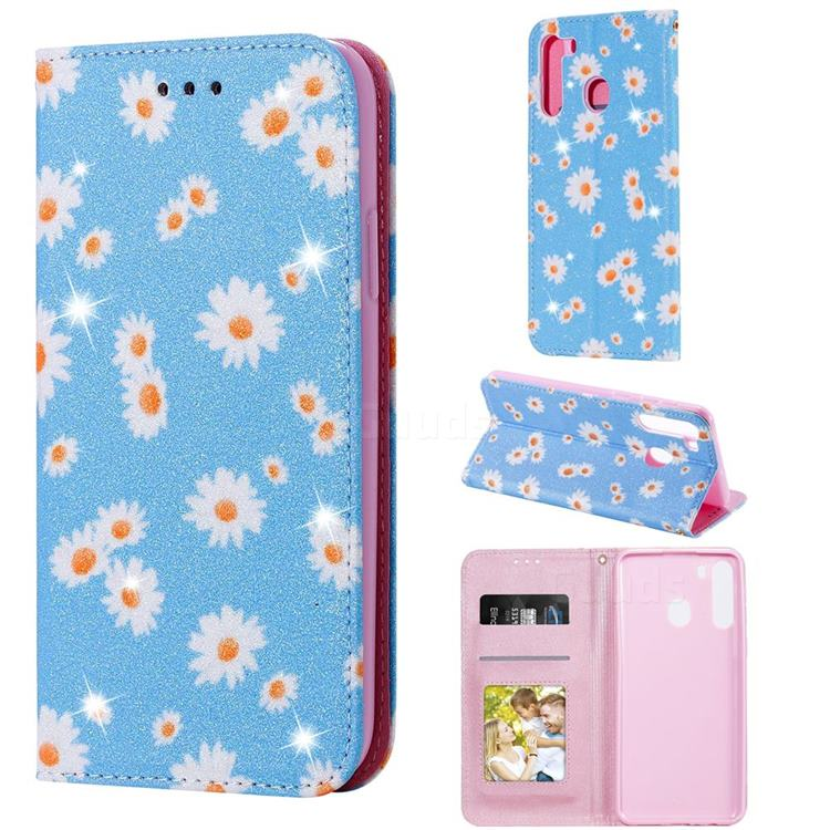 Ultra Slim Daisy Sparkle Glitter Powder Magnetic Leather Wallet Case for Samsung Galaxy A21 - Blue
