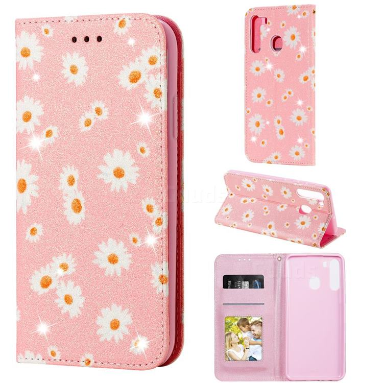 Ultra Slim Daisy Sparkle Glitter Powder Magnetic Leather Wallet Case for Samsung Galaxy A21 - Pink
